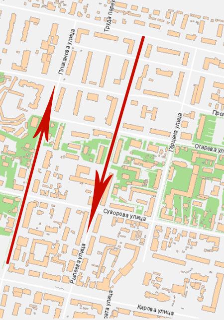 Схема движения по улицам Плеханова и Рылеева с 16 мая.  Поделиться.  0. По улице Плеханова транспорт пустят в...