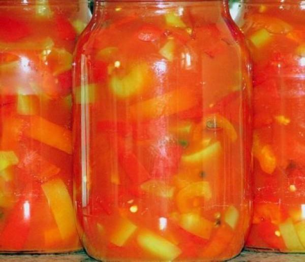 Салат из кабачков на зиму с помидорами и