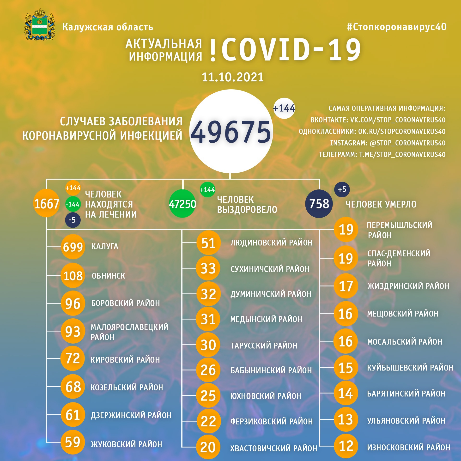 Официальная статистика по коронавирусу в Калужской области на 11 октября 2021 года.