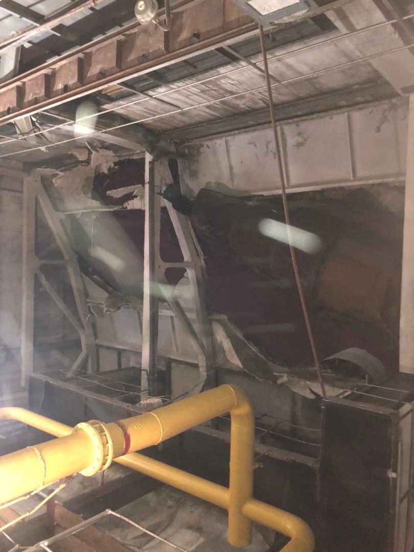 Обрушение трубы котельной в Людиово Калужская область 27 января