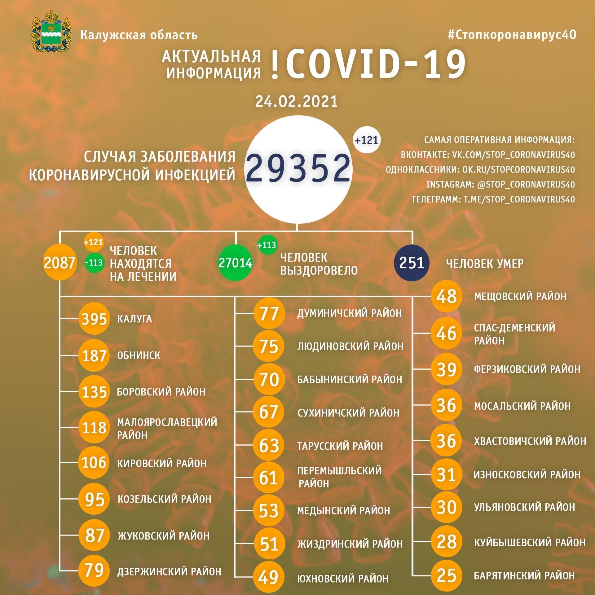 Официальная статистика по коронавирусу в Калужской области 24 февраля 2021 года.