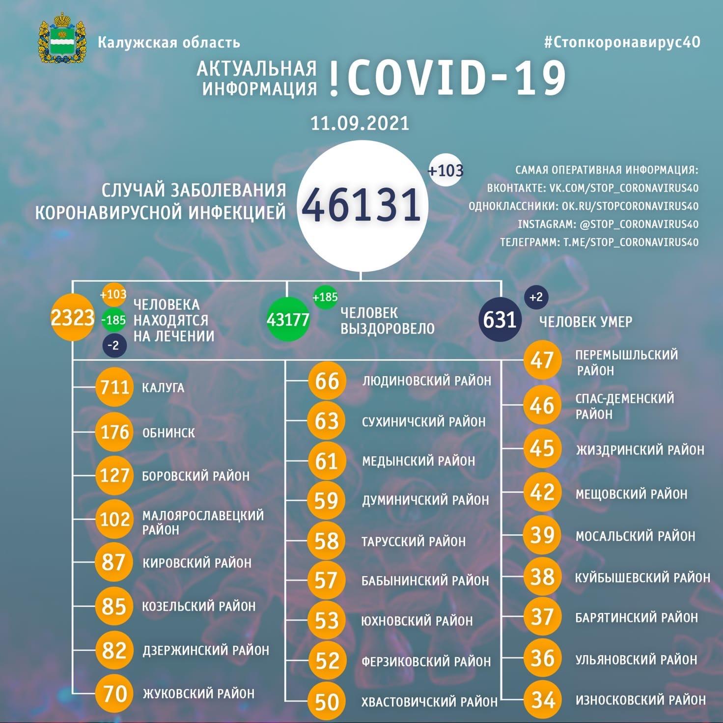 Официальная статистика по коронавирусу в Калужской области на 11 сентября 2021 года.