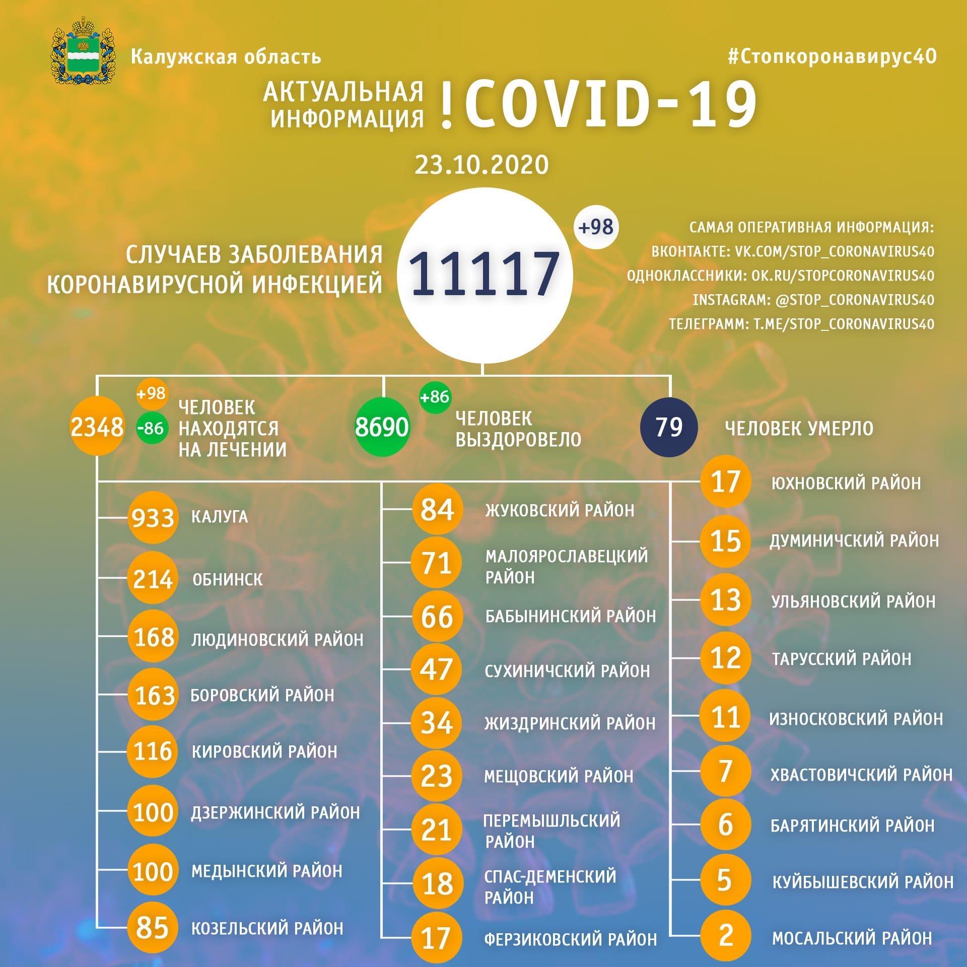 Официальная статистика по коронавирусу в Калужской области на 23 октября 2020 года.