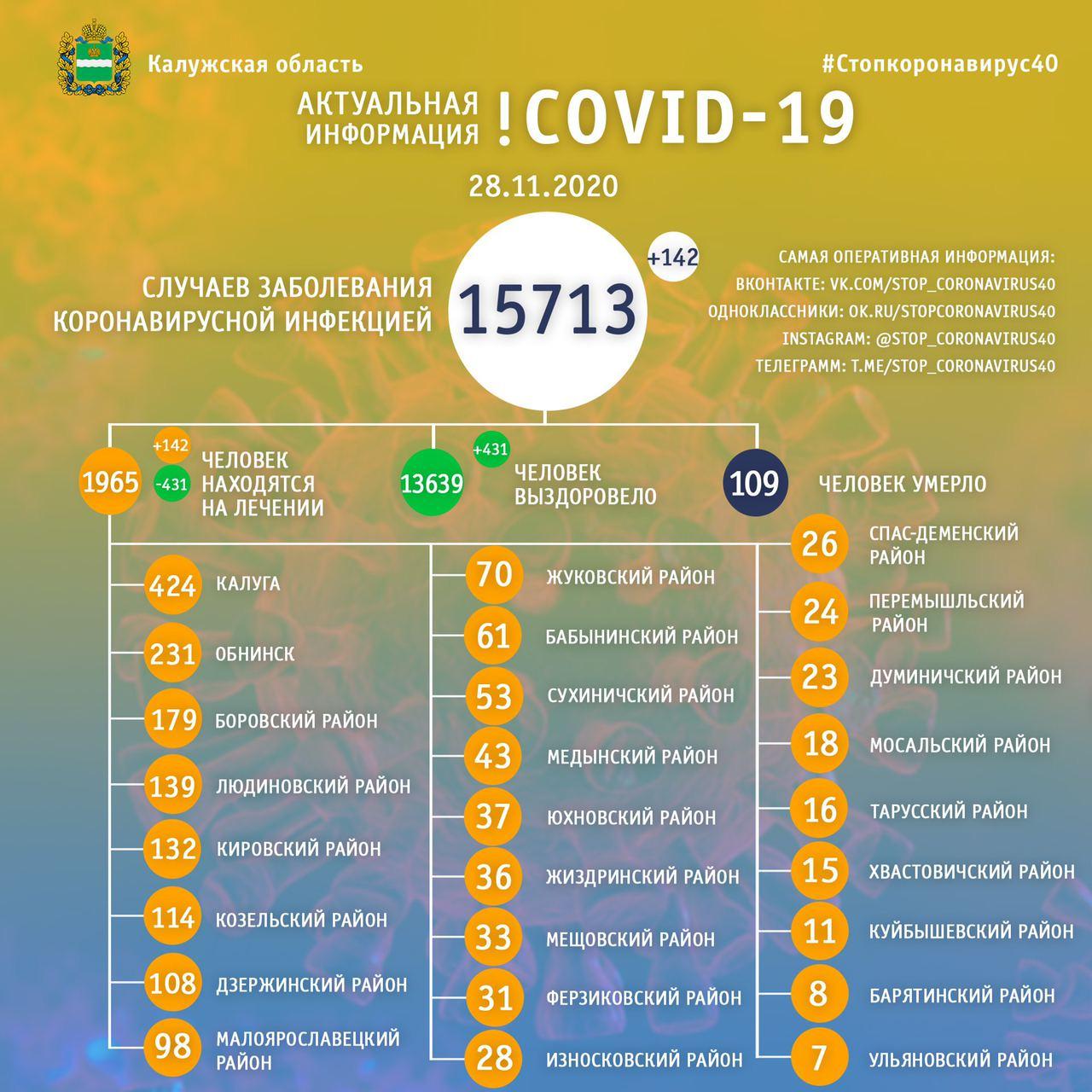 Официальная статистика по коронавирусу в Калужской области на 28 ноября 2020 года.