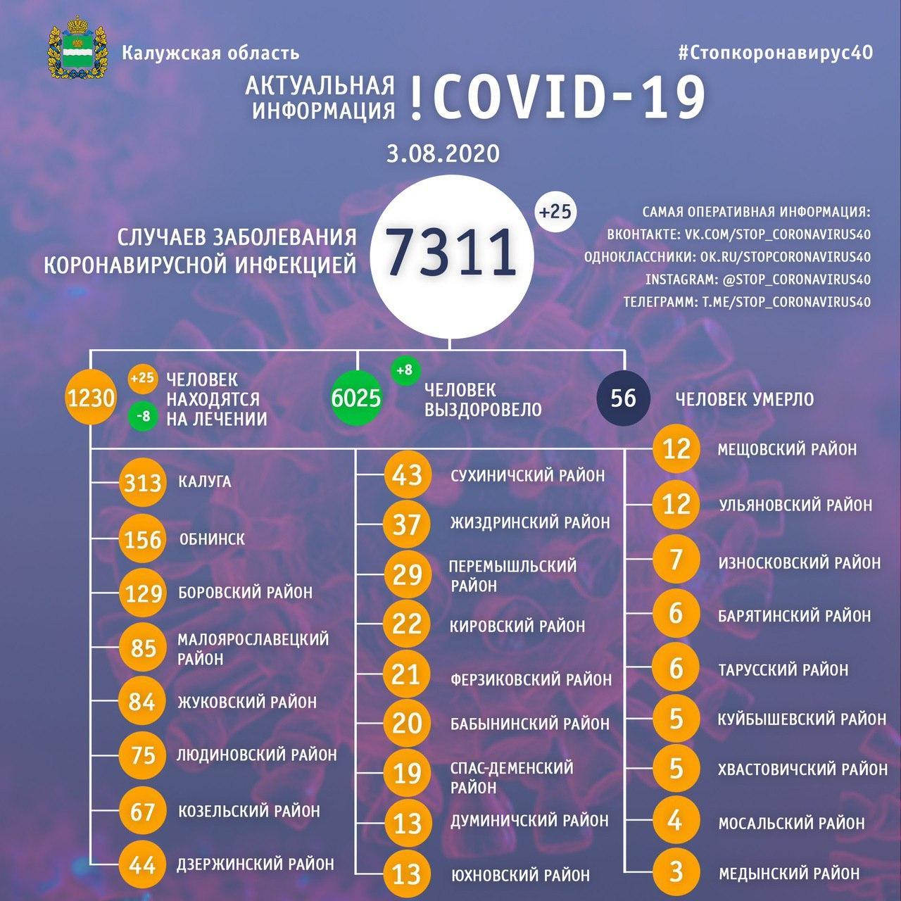Коронавирус в Калужской области 3 августа 2020 года