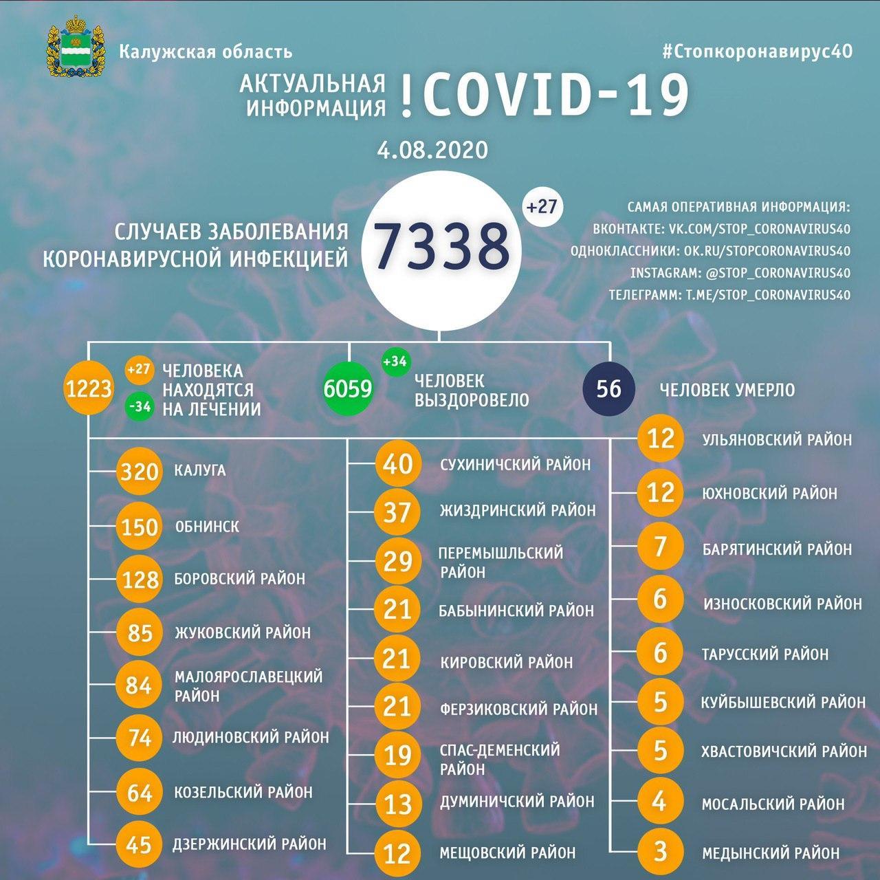 Коронавирус в Калужской области 4 августа 2020 года