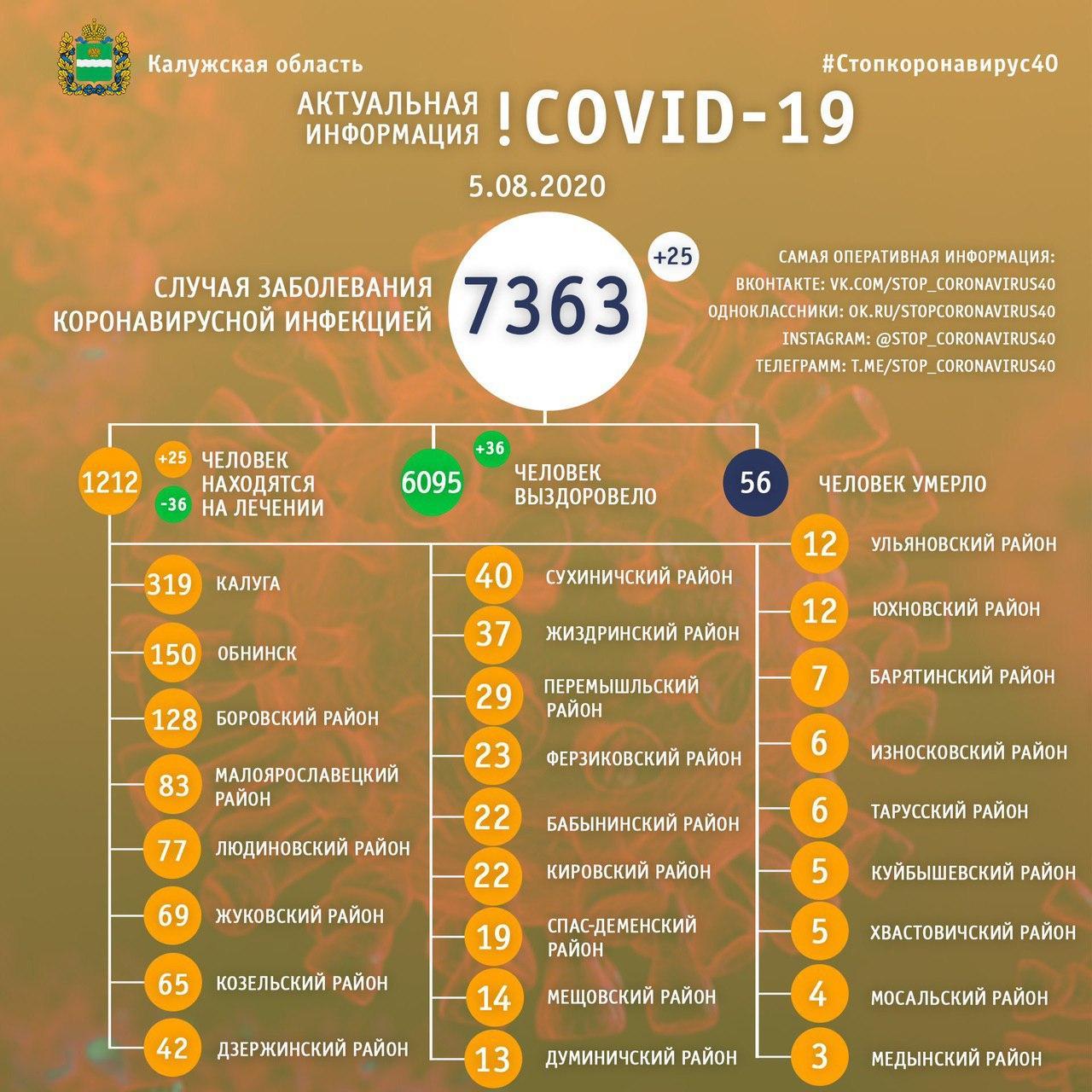 Коронавирус в Калужской области официальные данные 5 августа 2020 года