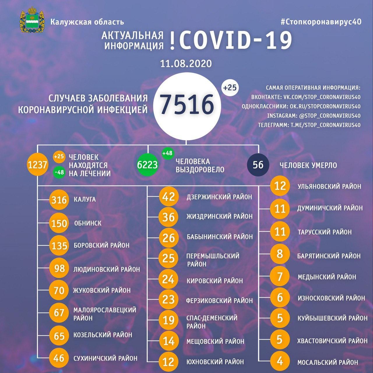 Коронавирус в Калужской области официальные данные на 11 августа 2020 года