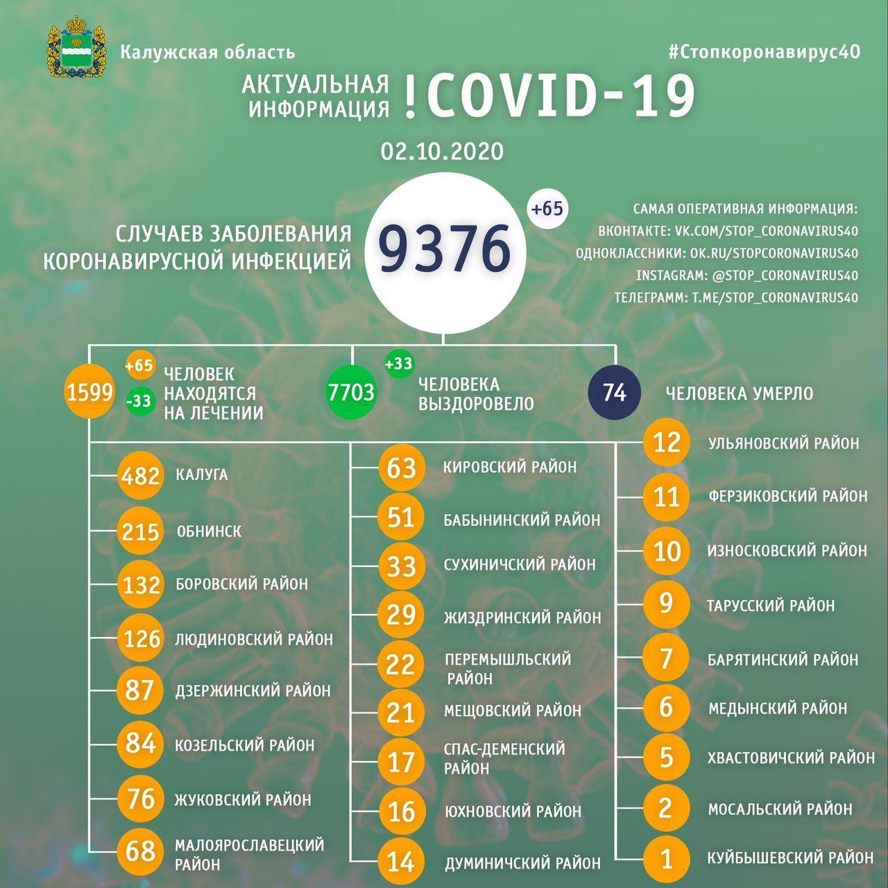 Официальная статистика по коронавирусу в Калужской области на 2 октября 2020 года.
