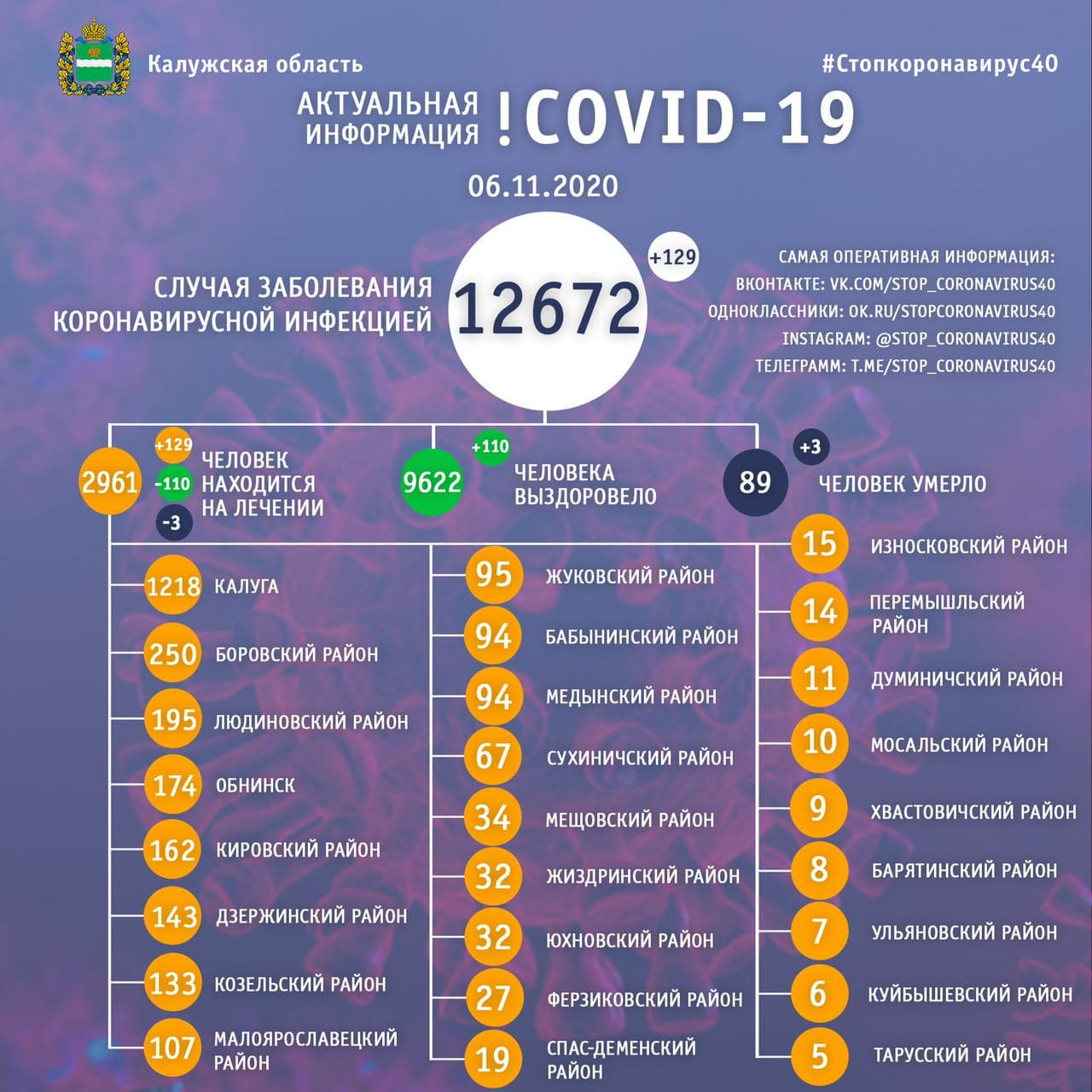 Официальные данные по коронавирусу в Калужской области на 6 ноября 2020 года.