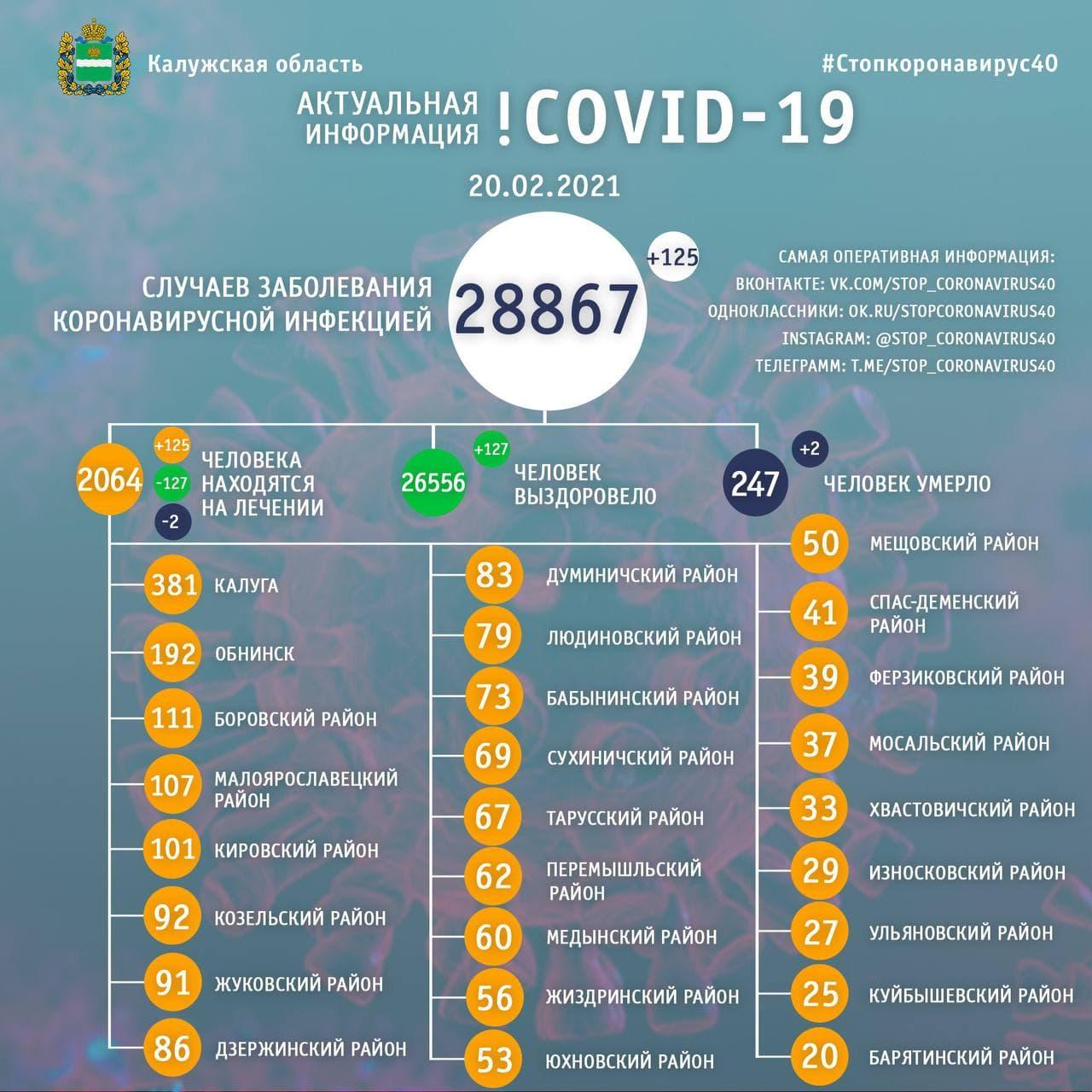 Официальные данные по коронавирусу в Калужской области на 20 февраля 2021 года.