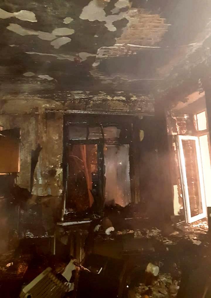 Фото с места пожара в Калуге 15 ноября 2020 года.