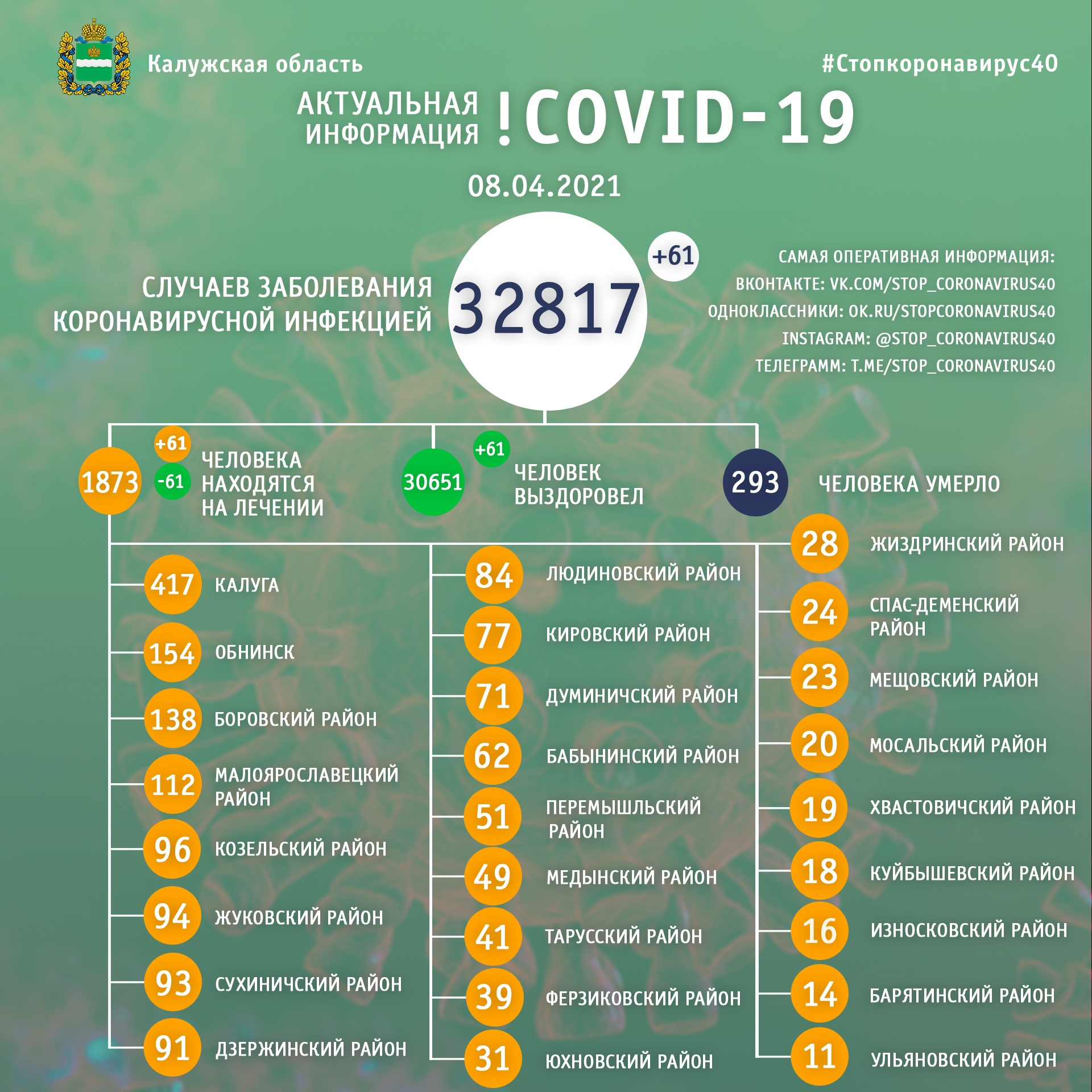 Официальная статистика по коронавирусу в Калужской области на 8 апреля 2021 года.
